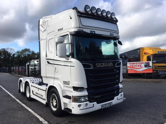 013 (63) SCANIA R500 V8 TOPLINE T/UNIT, TWIN WHEEL REAR LIFT AXLE, TIPPING EQUIPMENT