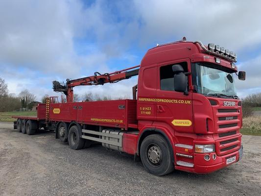 2008 SCANIA R420 6X2 CRANE TRUCK, WITH DRAWBAR TRAILER