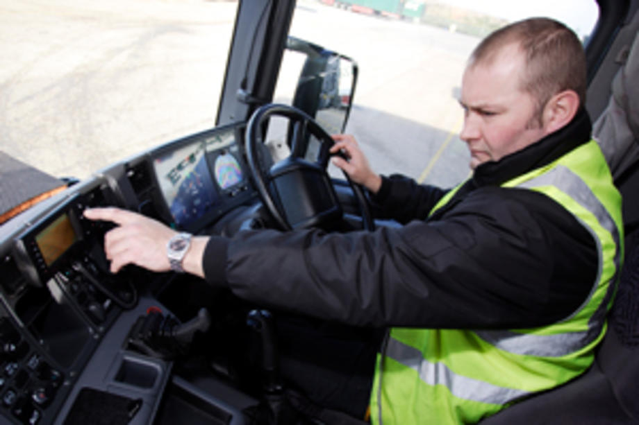 Driver in his truck cab
