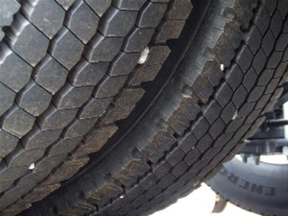 Picture of a trucks tyres with stones in